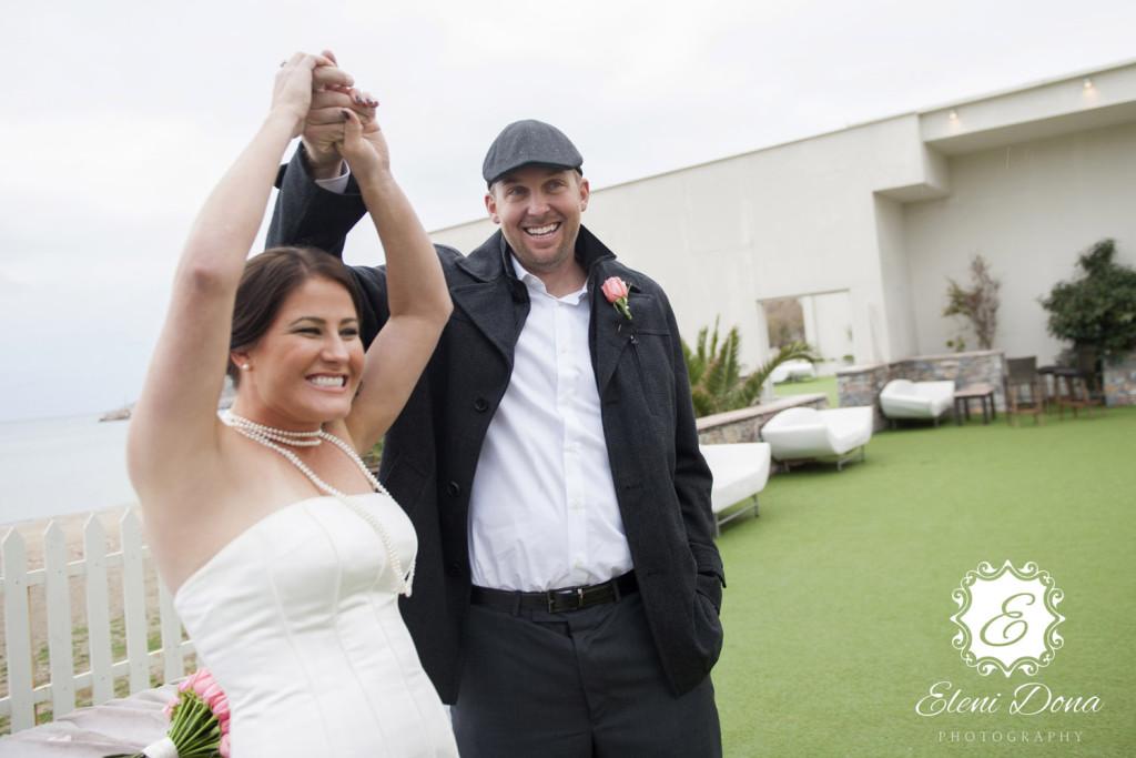 Happy couple Santorini wedding