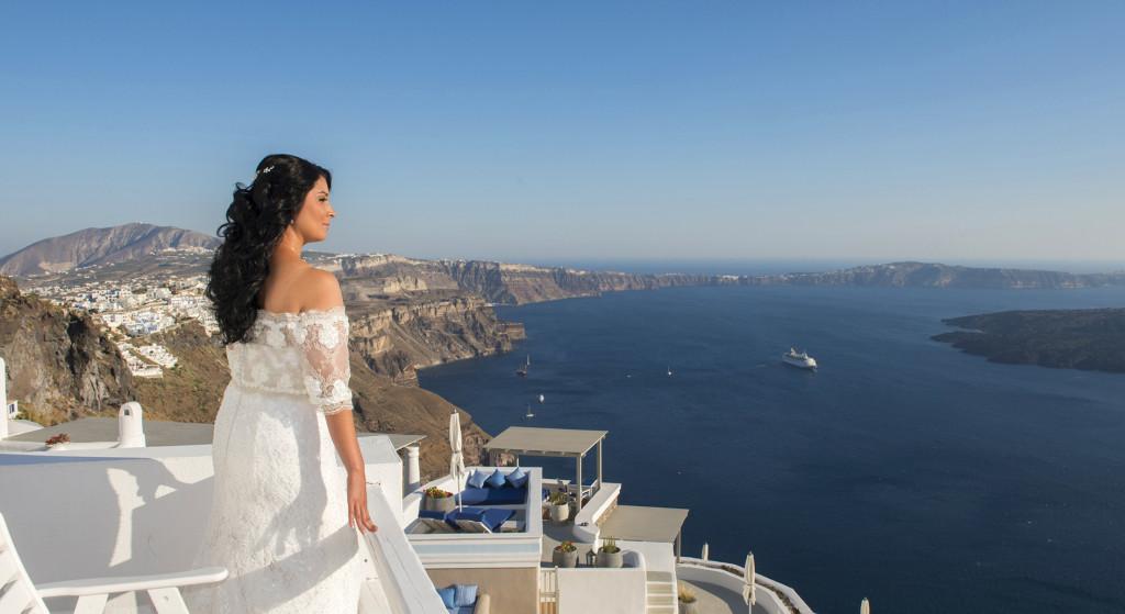 santorini caldera wedding view