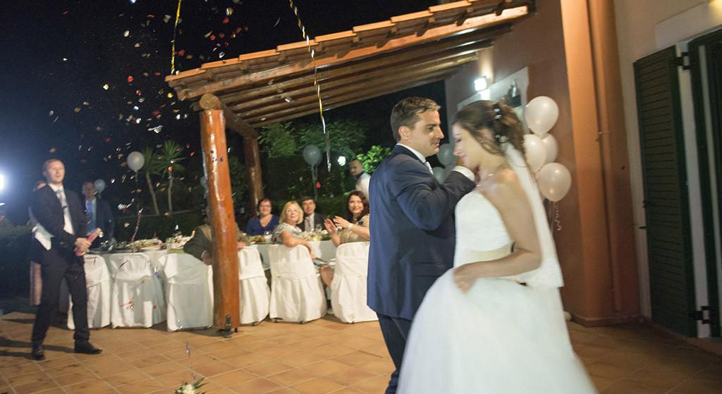 wedding reception photo in Santorini island, Greece