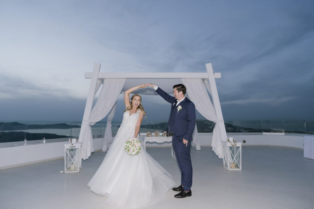 married couple in Santorini island